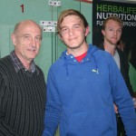 Henning Holtzhausen, runner-up of the men's plate, with NSA Chairman Toepie Wood.