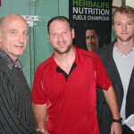 Rodney Durbach, runner-up in the men's championship, with NSA Chairman Toepie Wood and committee member Craig Stephens.